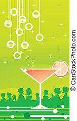 Martini Party - An orange martini on green background