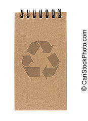 recycle paper notebook with recycle sign on white background...