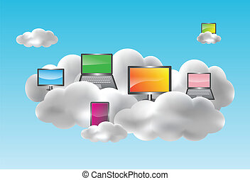 Cloud computing concept - Cloud computing with desktops,...