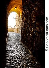 Jewish Quarter - A Narrow Street in the Jewish Quarter of...