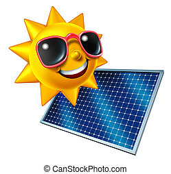 Sun With Solar Panel - Sun character with solar panel as an...