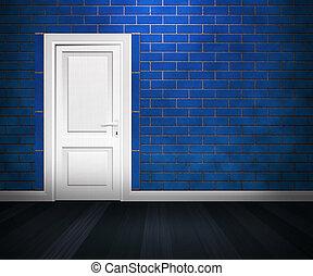 Door in the Blue Brick Wall