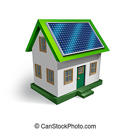 Solar Energy - Solar energy house symbol on a white...