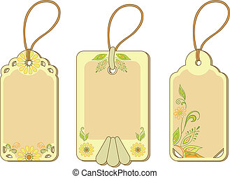 Tags with floral pattern