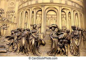 Florence - Baptistery , Panel of the Door of Paradise -...