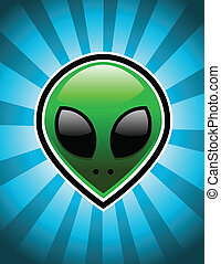 Green Alien - Green alien on blue bursting background