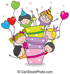 Birthday card. Children at birthday party
