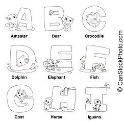 Coloring Alphabet for Kids,A to I