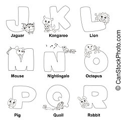 Coloring Alphabet for Kids,J to R
