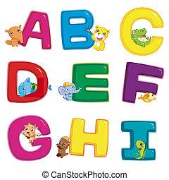 animal alphabet A to I - illustration of isolated animal...