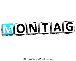 3D Monday In German Language Button Click Here Block Text