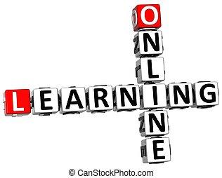 3D Online Learning Crossword on white background