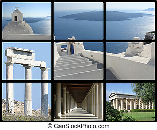 greece travel - greece architecture - athens and santorini...
