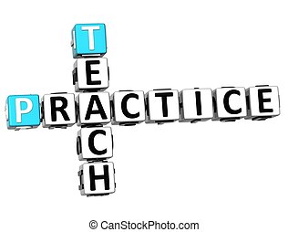 3D Teach Practice Crossword on white background