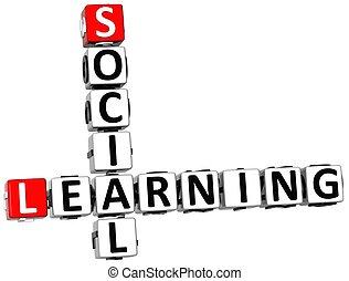 3D Social Learning Crossword on white background