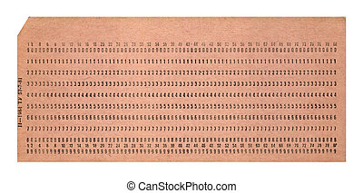 vintage punched card isolated on white background, retro...