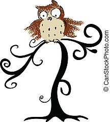 Halloween cute owl in tree
