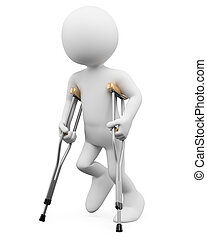 3D white people. Injury - 3d white person on crutches. 3d...