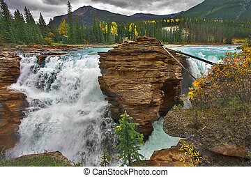 Rustling falls - Falls Athabasca in a deep canyon in the...
