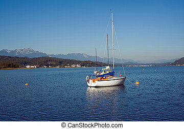 Sailboats on the lake Woerther, Carinthia, Austria