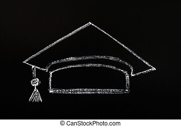 Trencher cap drawn with chalk on blackboard background -...