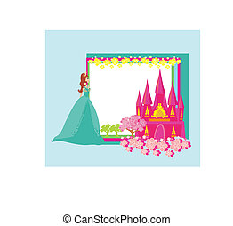 Beautiful young princess in front of her castle - abstract...
