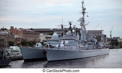 Warships at the pier in St. Petersburg