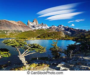 Mount Fitz Roy, Patagonia, Argentina - Laguna Capri and...