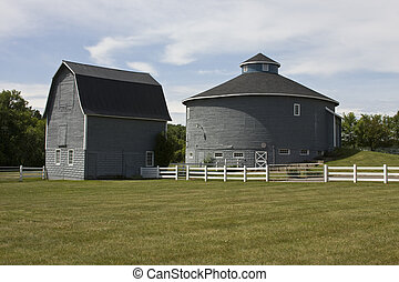 round and traditional country barns