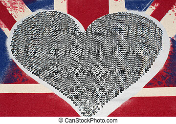 United Kingdom flag and heart - United Kingdom Union Jack...