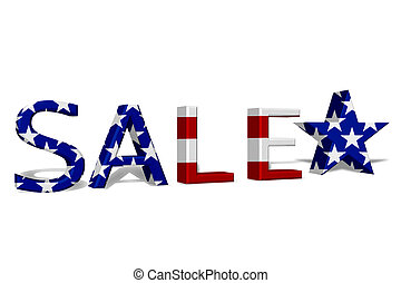 4th July Sale - The word Sale in 3D in the American flag...