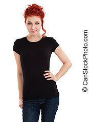 Redhead with blank black shirt - Young beautiful redhead...
