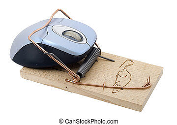 Trapped Mouse - a computer mouse caught in a mousetrap