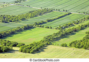 meadows and fields - Aerial view on meadows and fields with...