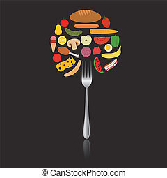 foods in circle on the fork