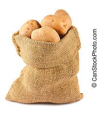 Raw potatoes in burlap sack - Ripe potatoes in burlap sack...