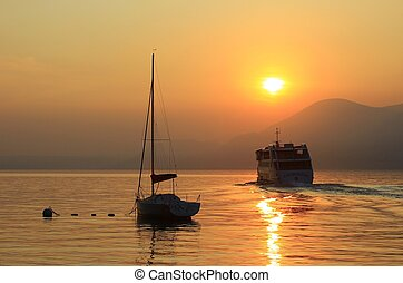 sundown at the lake Garda, Italy