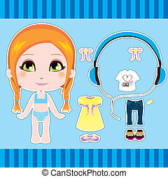 Redhair Fashion Girl - Cute red hair fashion paper doll girl...