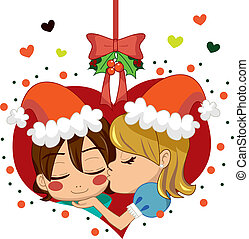 Christmas Love Kiss - Girl kissing boy under mistletoe...