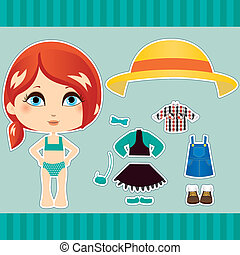 Red Haired Fashion Girl - Cute red haired fashion paper doll...