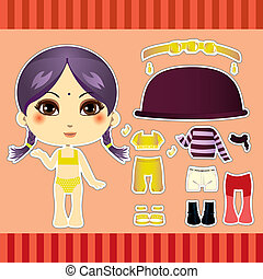 Hindu Fashion Girl - Cute hindu fashion paper doll girl...