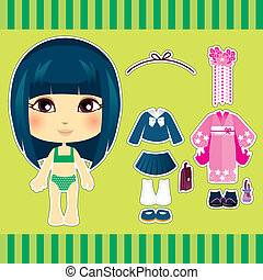 Japanese Fashion Girl - Cute japanese fashion paper doll...