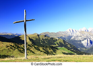 Wooden cross in the mountains - Wooden cross on the Sella...