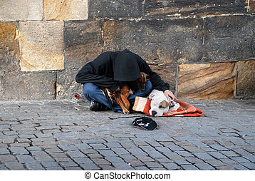 homeless - man and dog