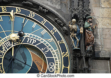 clock, Prague - with figures od death marking time and the...