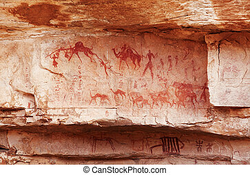 Fragment of rock with ancient paintings - Famous prehistoric...