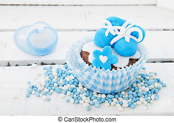 Cupcake for a born baby boy - Blue cupcake with baby shoes...