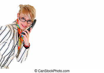 young businesswoman on phone - Attractive trendy young blond...
