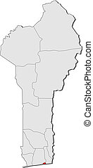 Map of Benin, Littoral highlighted - Political map of Benin...