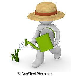 Growth - Gardener with a watering can